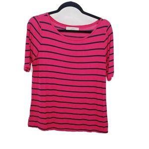 loft medium striped half sleeve knit top